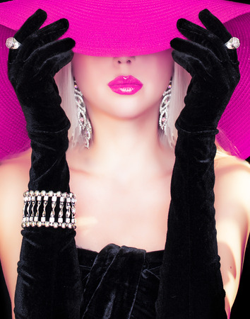 glamour woman elegant: fashion girl in a hat . Stock Photo