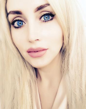 beautiful blue eyed blonde closeup portrait Stock Photo