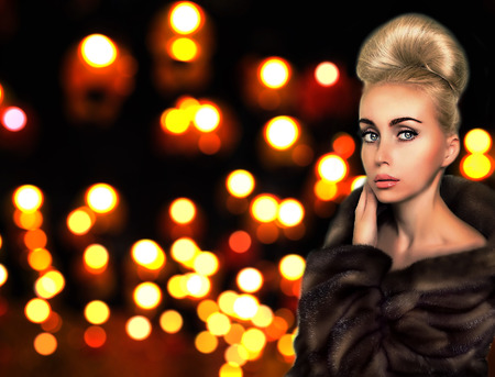 updo: beautiful woman with updo in fur coat Stock Photo