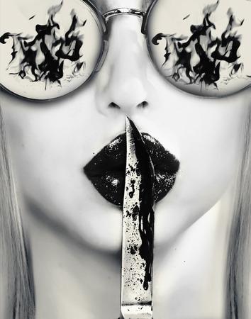 revenge: cuchillo en los labios. venganza cuadro abstracto