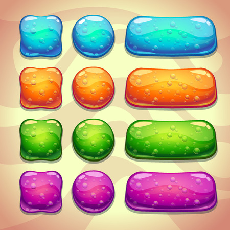 aqua icon: Set of cool jelly buttons with bubbles, vector elements for web or game design Illustration