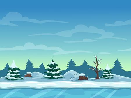 Naadloze cartoon winterlandschap, oneindige achtergrond met ijs, sneeuw heuvels en bewolkte hemel lagen