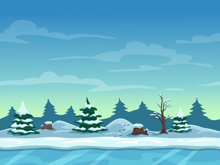 Seamless cartoon winter landscape, unending background with ice, snow hills and cloudy sky layers Illustration