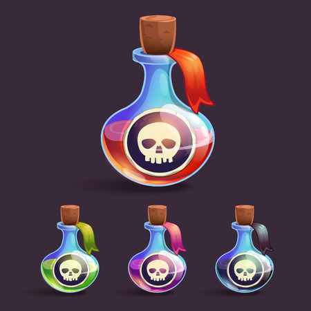Cartoon bottles with poison and skull stickers on it, in different colors Vector