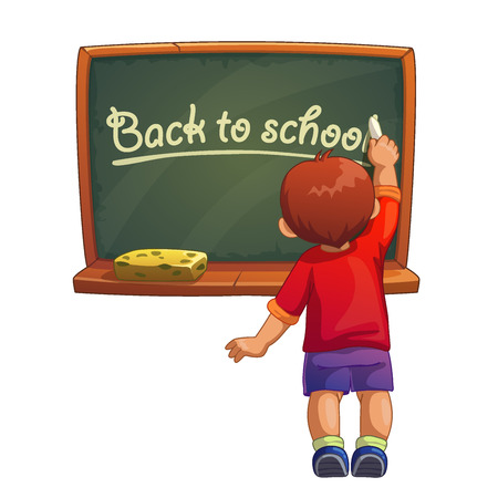 drawing room: Little cartoon boy writes with chalk on a blackboard, back to school illustration. Isolated vector