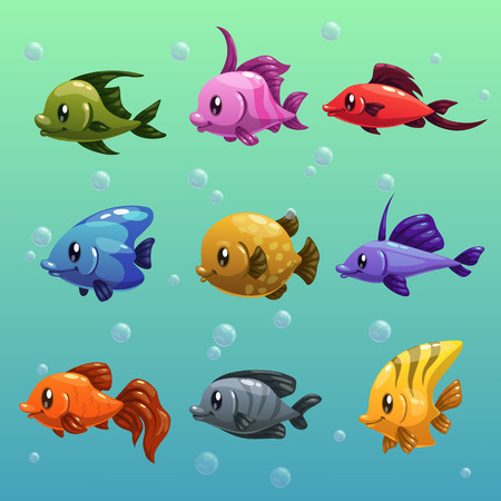 tank fish: Cartoon fishes vector set