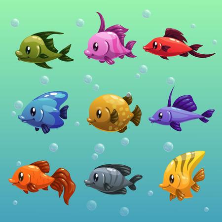 Cartoon fishes vector set