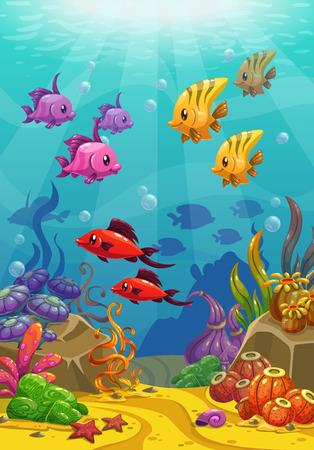 estrella de la vida: Mundo submarino, ilustración vectorial Vectores