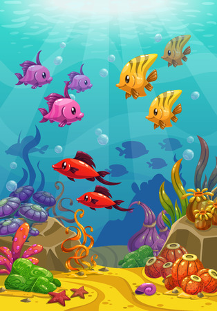 under the sea: Underwater world, vector illustration