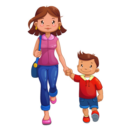 family fun: Woman is walking with son, isolated vector