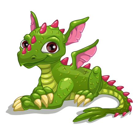 dinosaurs: Cute cartoon green dragon, isolated vector illustration