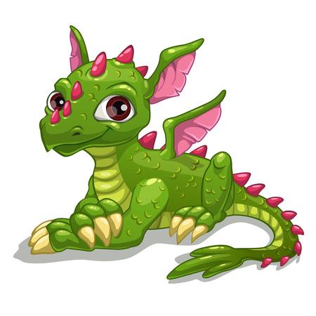 Dragon vert mignon de bande dessinée, illustration vectorielle isolé Banque d'images - 35805588