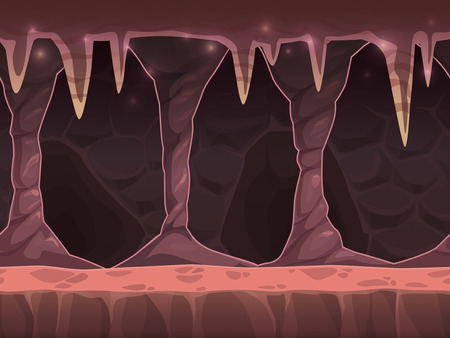 Seamless cartoon cave landscape, unending background with layers for parallax effect Vector