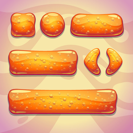Set of orange jelly buttons with bubbles, vector gui elements Illustration