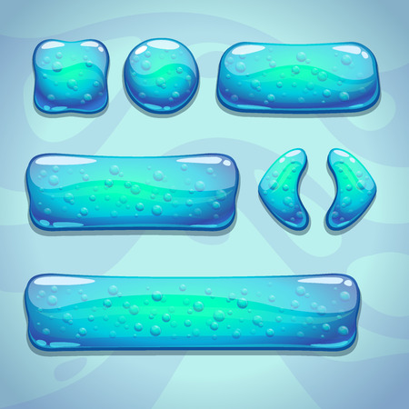 Set of blue cartoon glassy buttons with bubbles, game ui elements Vector
