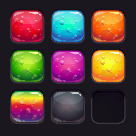 Set of square glossy elements for game or web design. Colorful glassy buttons with bubbles Vector
