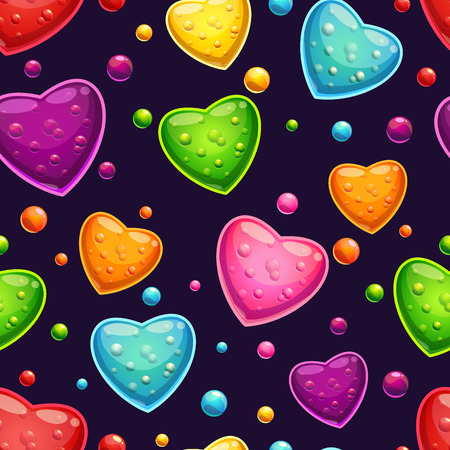 Seamless pattern with bright glossy hearts on the dark background Vector
