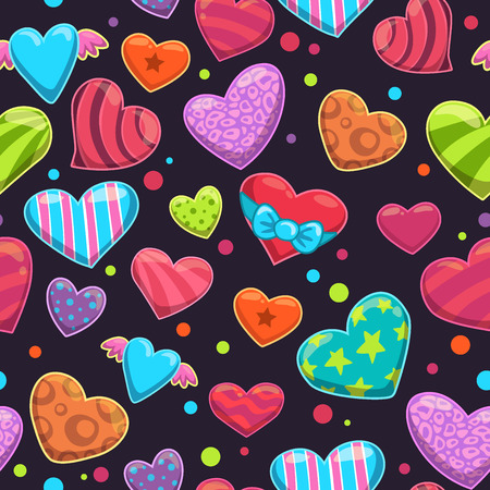 Seamless pattern with cute cartoon bright hearts on the dark background Illustration