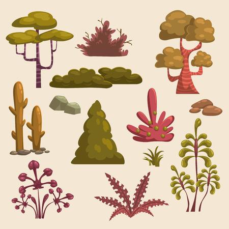 trees landscape: Set of cartoon landscape elements
