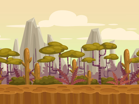 Seamless cartoon nature landscape, unending background with soil, plants, mountains and cloudy sky layers