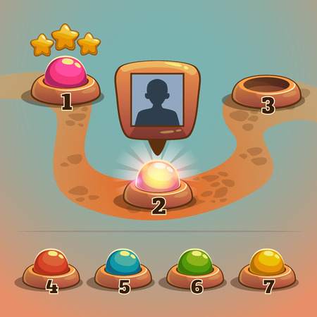 Level indicators for game ui, map pointers