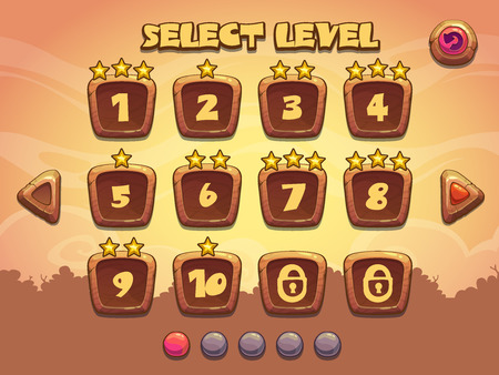 Level selection screen. Wooden game ui set
