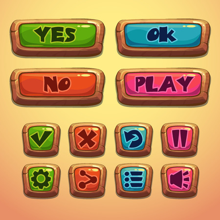 Set of cartoon wooden buttons, vector gui elements