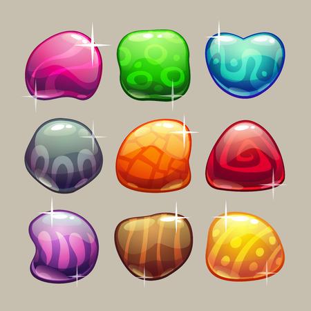 golosinas: Conjunto de piedras brillantes de colores brillantes con destellos