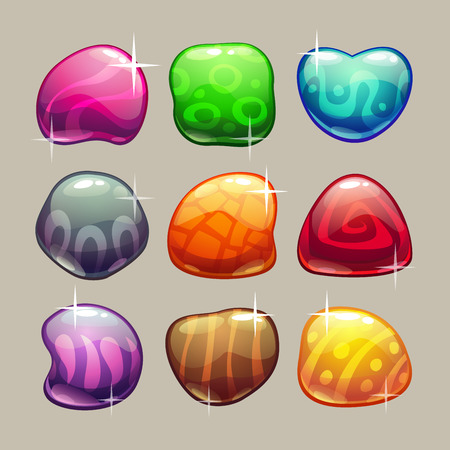Set of bright colorful glossy stones with sparkles Illustration