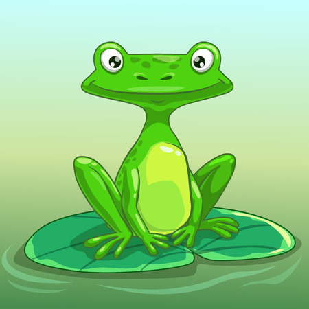 Funny cartoon frog on the lily pad