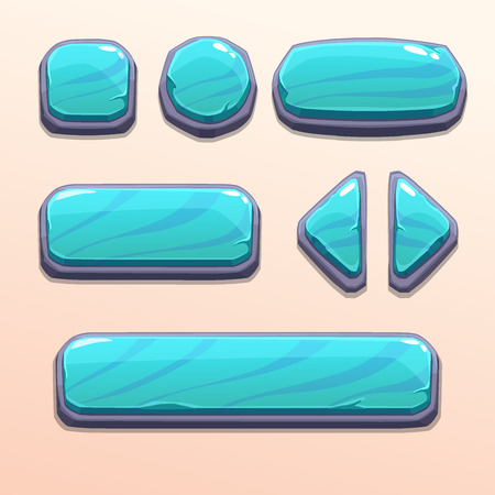 gui: Set of cartoon blue stone buttons, bright vector ui elements