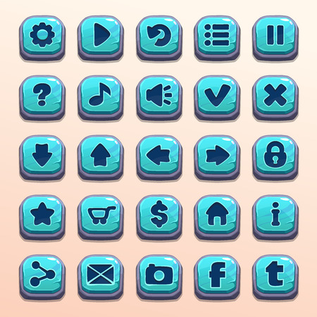 pause button: Big set of cartoon blue stone vector buttons for game UI