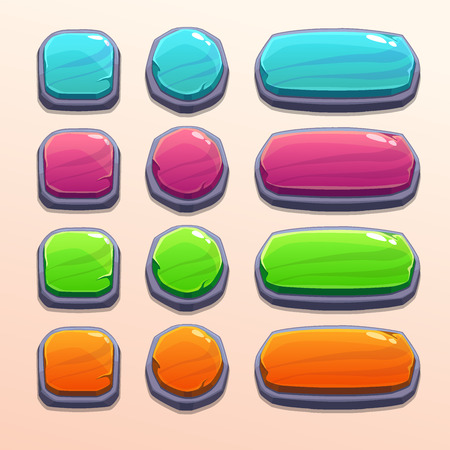 long play: Set of bright funny buttons with different shapes and colors, beautiful stone elements for web or game ui design