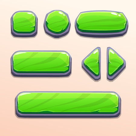 Set of cartoon green stone buttons, bright vector ui elements