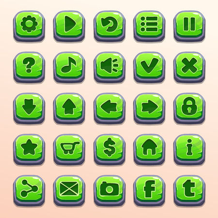 pause button: Big set of cartoon green stone vector buttons for game UI Illustration