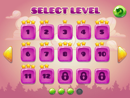 game design: Level selection screen. Game ui set in pink colors
