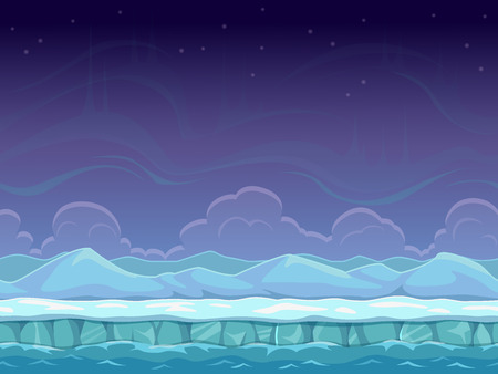 Seamless cartoon arctic landscape, unending background with ice, snow hills and cloudy sky layers Ilustração