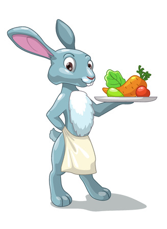 Cartoon rabbit with vegetables, healthy food or vegetarian illustration, isolated on the white background Vector