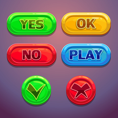 Buttons with yes, no, OK, play check marks. Isolated elements for web or game design Vector
