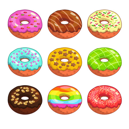 fattening: Set of cartoon colorful donuts on the white background