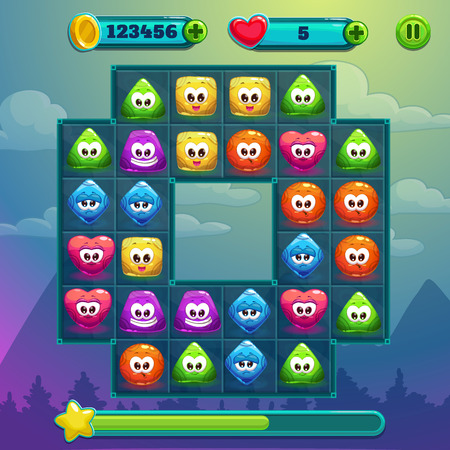 add button: Ingame window, game interface with game board, cute simple characters with different colors and emotions, coins and lives bars with add button, pause button Illustration