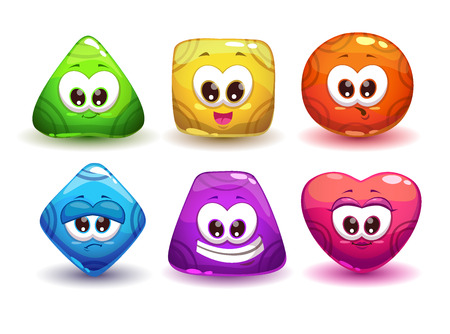 Cute geometric jelly characters with different emotions and colors 矢量图像