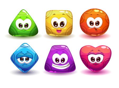caras graciosas: Personajes jalea geom�tricas lindos con diversas emociones y colores Vectores