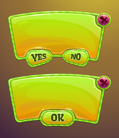Green cartoon panels for game or web UI, including yes/no and OK buttons Vettoriali