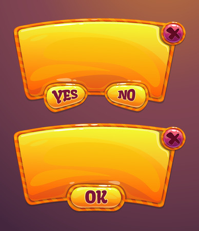 Orange cartoon panels for game or web UI, including yesno and OK buttons Vector
