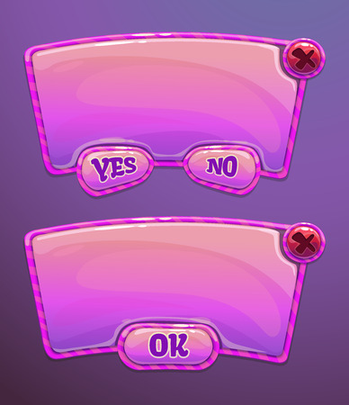 Pink cartoon panels for game or web UI, including yes/no and OK buttons Stock Illustratie