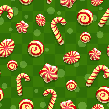 never ending: Christmas seamless pattern with candies Illustration