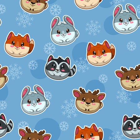 Seamless pattern with cute round animals and snow Vector