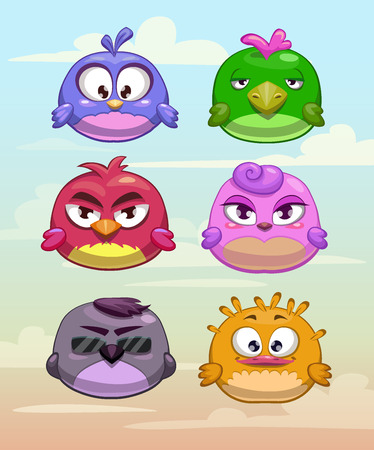 Set of funny round birds characters on the cloudy sky background