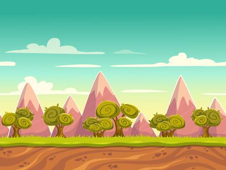 景觀: 無縫卡通自然景觀,無休止的背景土壤,樹木,山,多雲的天空層